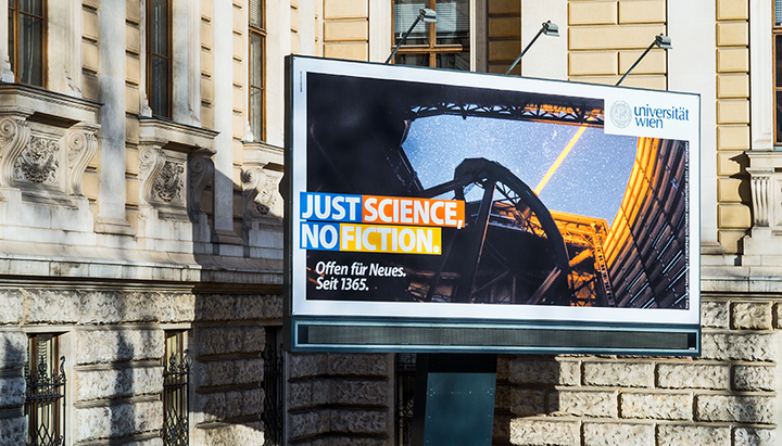 "Billboard mit Sujet ""Just Science, No Fiction"""