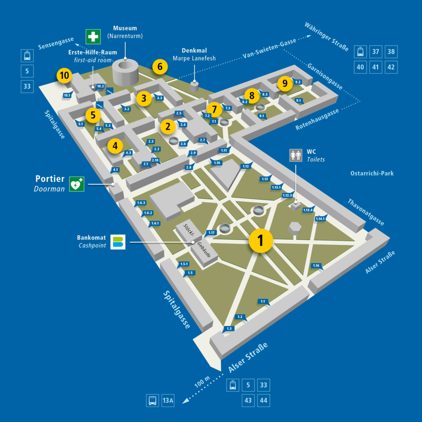 position plan of the Campus of the University of Vienna