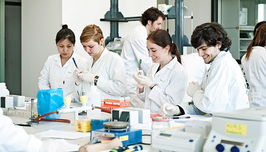 students working at the lab