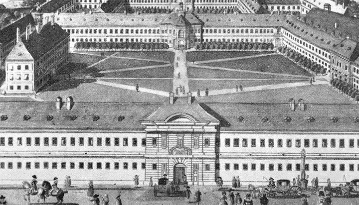 old General Hospital in Vienna, coloured engraving from 1784
