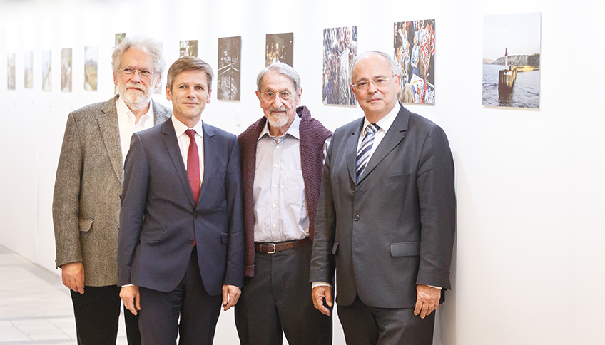 Anton Zeilinger, Josef Ostermayer, Martin Karplus and rector Engl